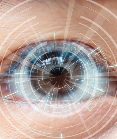 Concept art of computer interface laid over eyeball