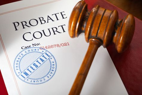 Probate paperwork and gavel
