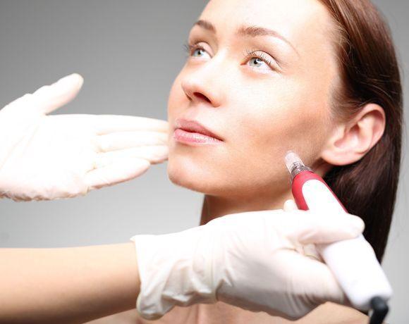 Woman undergoing cosmetic consultation