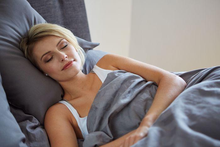 Beautiful sleeping blond woman