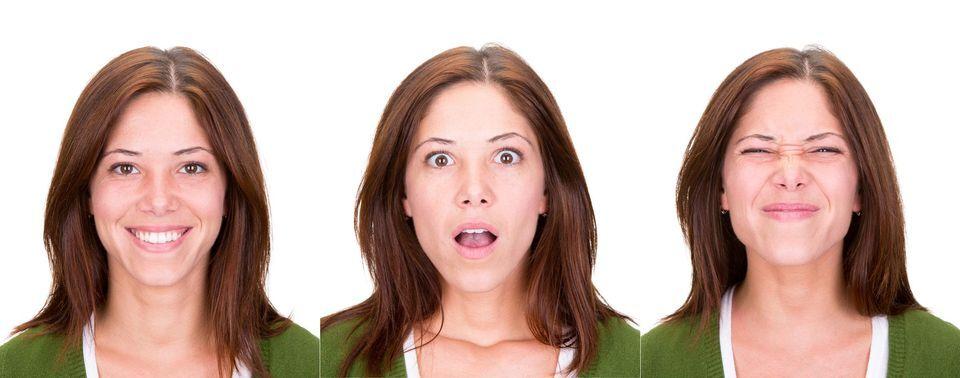 Photo of woman making various facial expressions