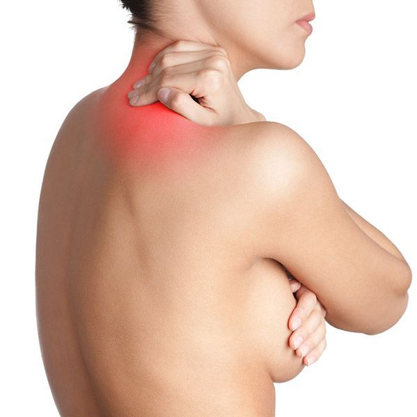 Woman holding neck showing red for pain