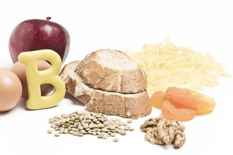 "The letter ""B"" and foods high in the vitamin"