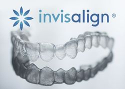 Invisalign tray and marketing logo.