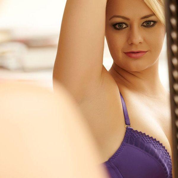 woman in purple bra