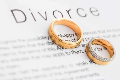 Photo of two wedding bands on top of paper titled divorce