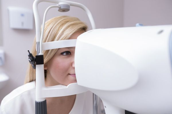 Patient undergoing an eye examination.