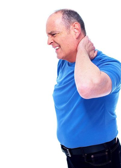 An older man experiencing neck pain