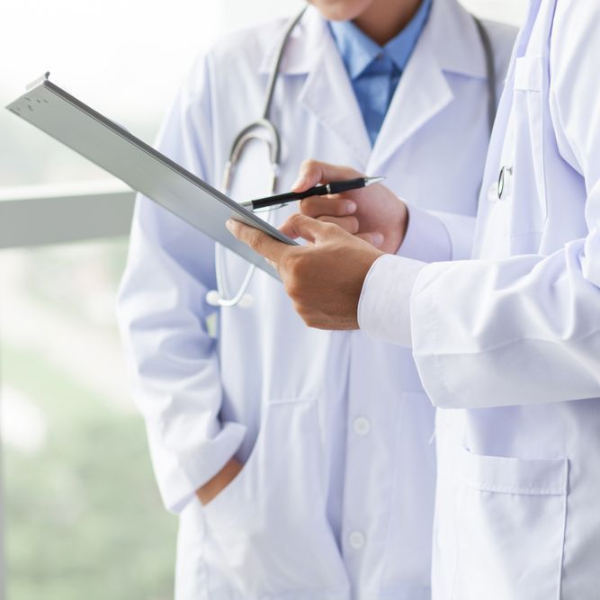 consulting with a doctor