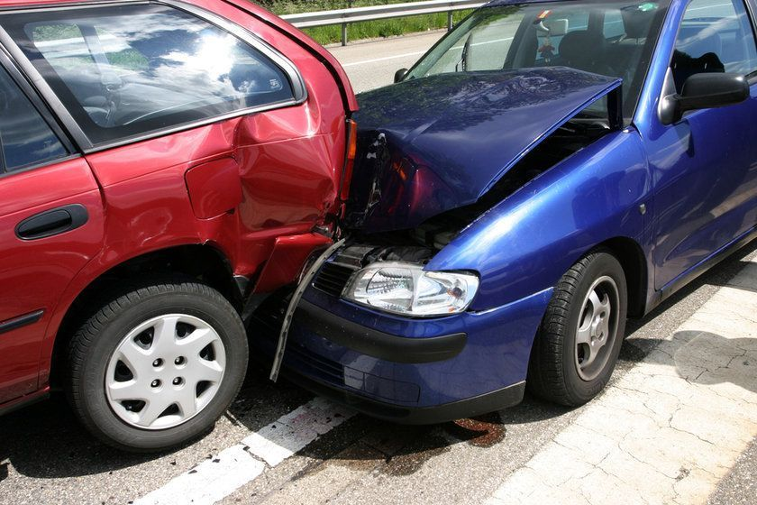 Two cars involved in an automobile accident