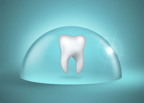 Graphic demonstrating how a preventive dentistry protects a tooth underneath a clear case.