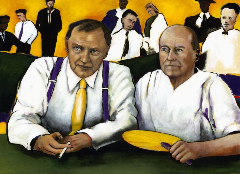 Painting of the Scopes Trial.