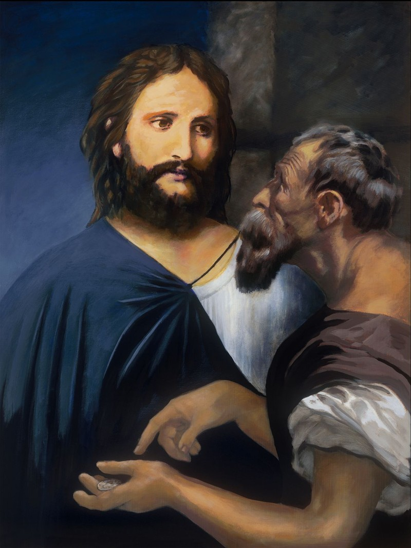 Painting of Jesus responding to an ill-intended question about tribute money to Caesar.