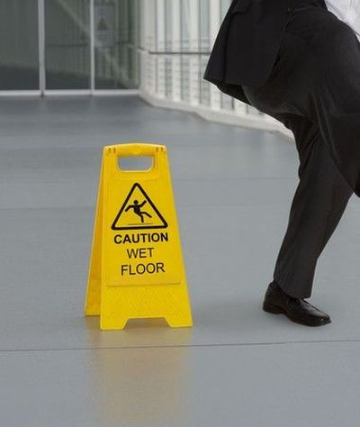 A sign reading Caution: Wet Floor