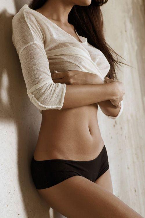 Woman wearing black underwear.