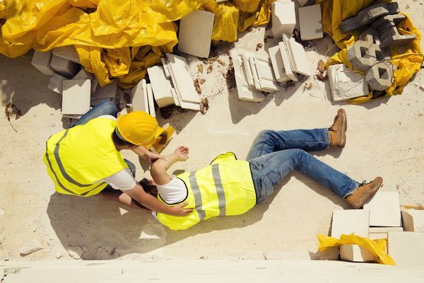 A man injured at a construction site.