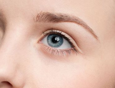 Close up of woman's thick and manicured eyebrow