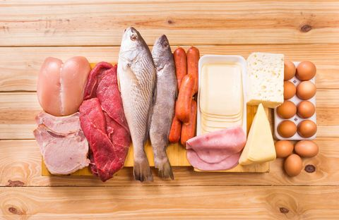 Sources of protein like meat, fish, eggs and cheese
