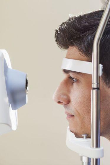 Man receiving an eye examination.