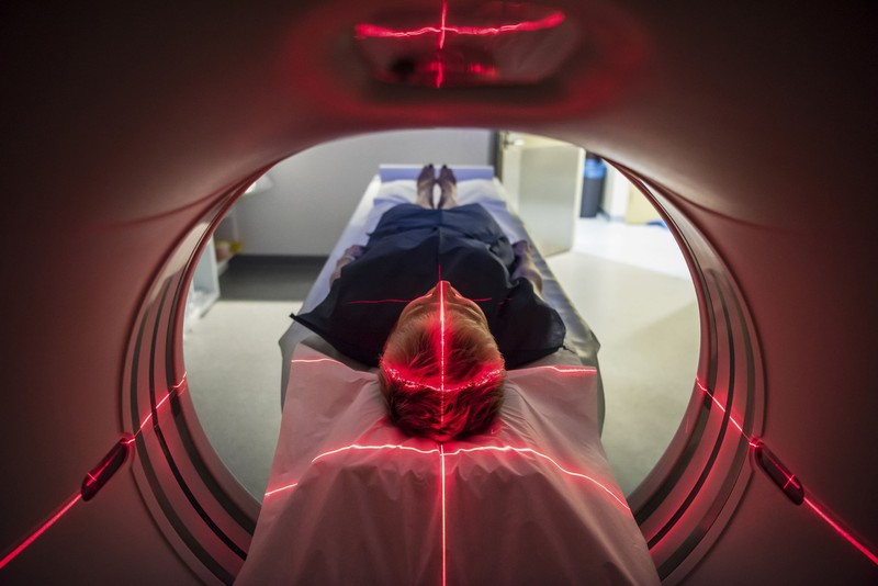 Patient receiving a brain scan