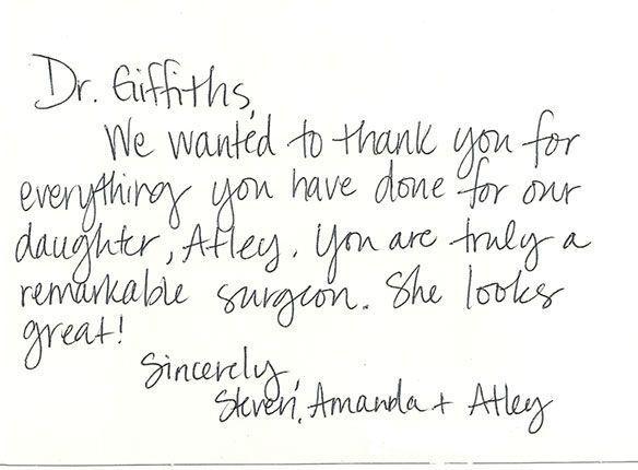 Patient testimonials: image of handwritten letter 2