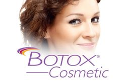 Smiling woman and BOTOX® Cosmetic logo