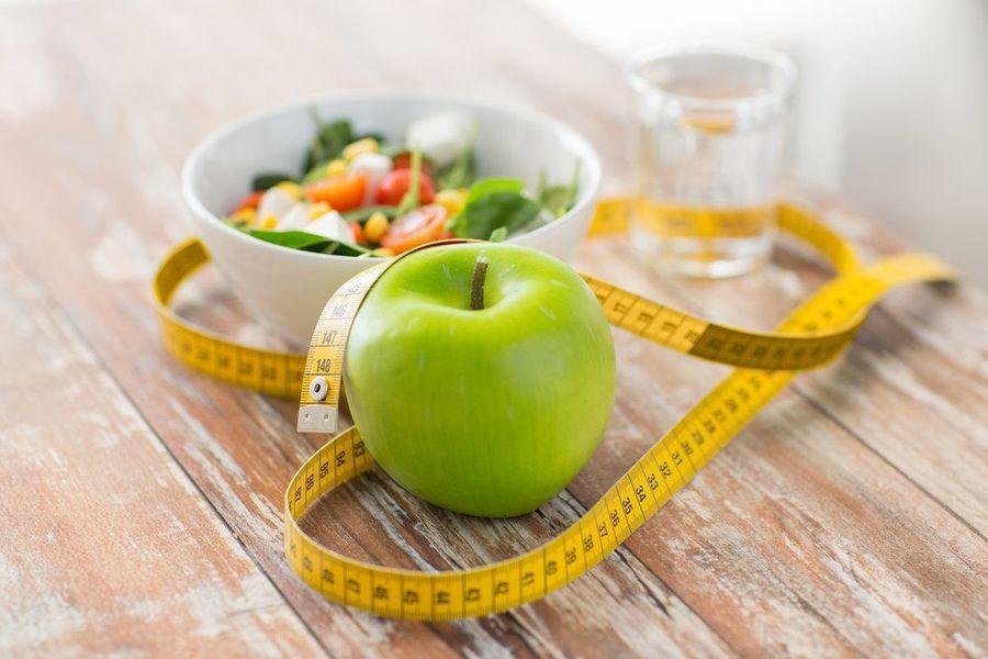 salad, apple, ruler