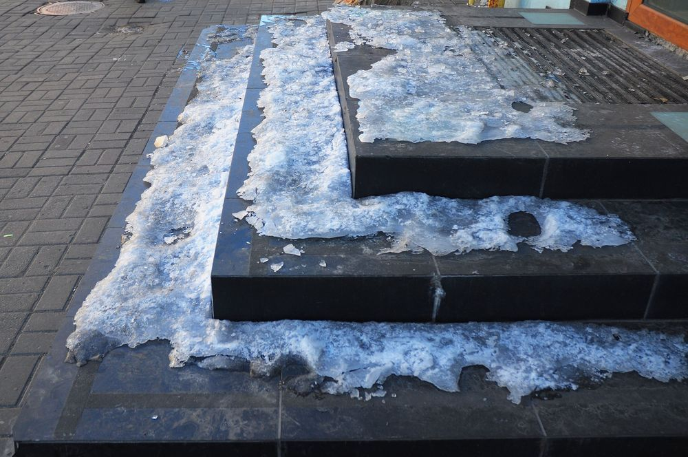 Icy stairs are a slip-and-fall hazard.