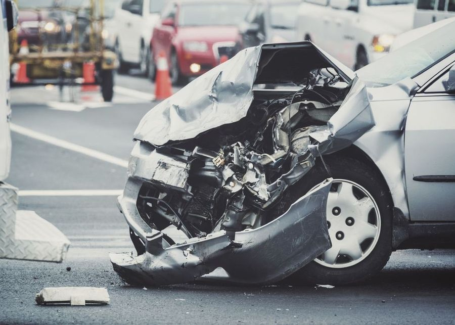 Car that has been involved in an accident.
