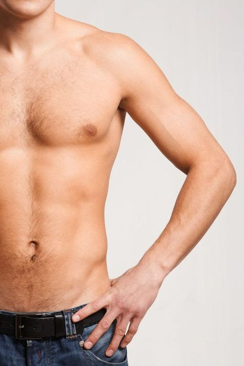 Photo of a muscular chest and abdomen