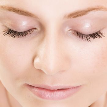 Close up of woman's closed eyes