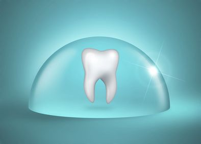Illustration of a tooth under a protective shield