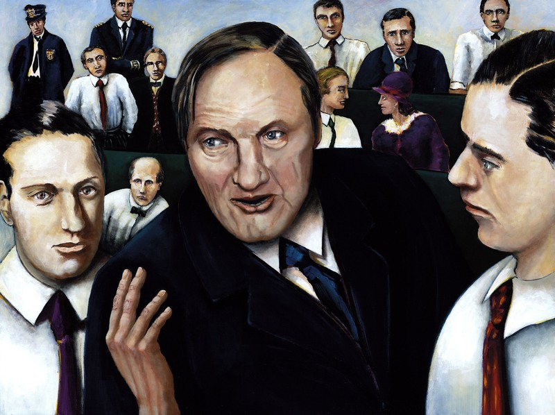 Painting of the Leopold Loeb Trial.
